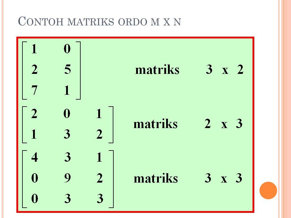 C ONTOH MATRIKS ORDO M X N
