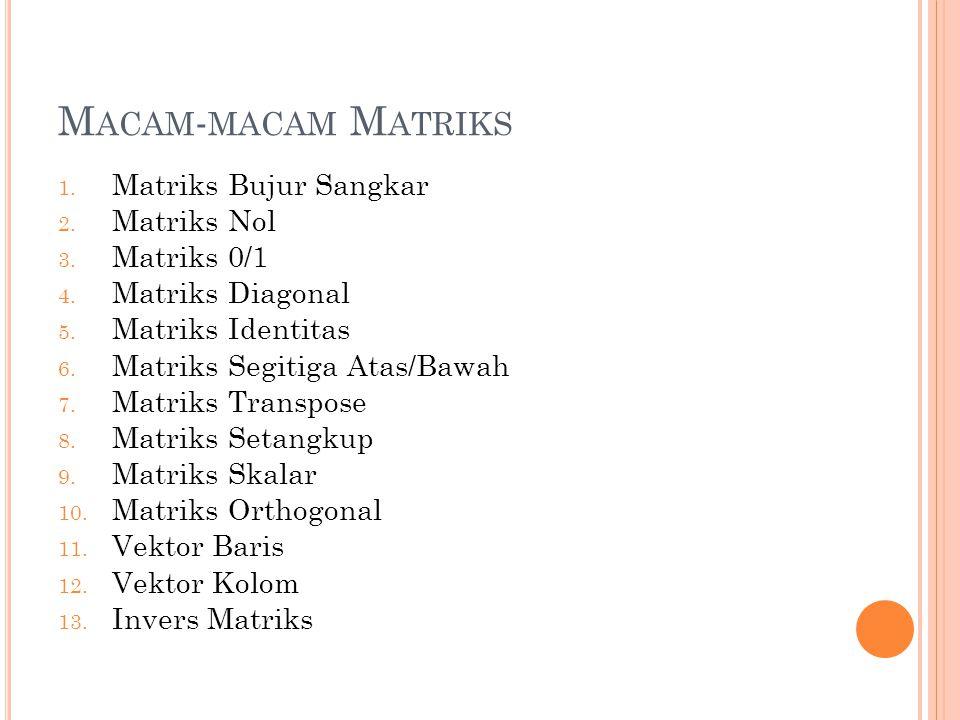 M ACAM - MACAM M ATRIKS 1. Matriks Bujur Sangkar 2. Matriks Nol 3. Matriks 0/1 4. Matriks Diagonal 5. Matriks Identitas 6. Matriks Segitiga Atas/Bawah