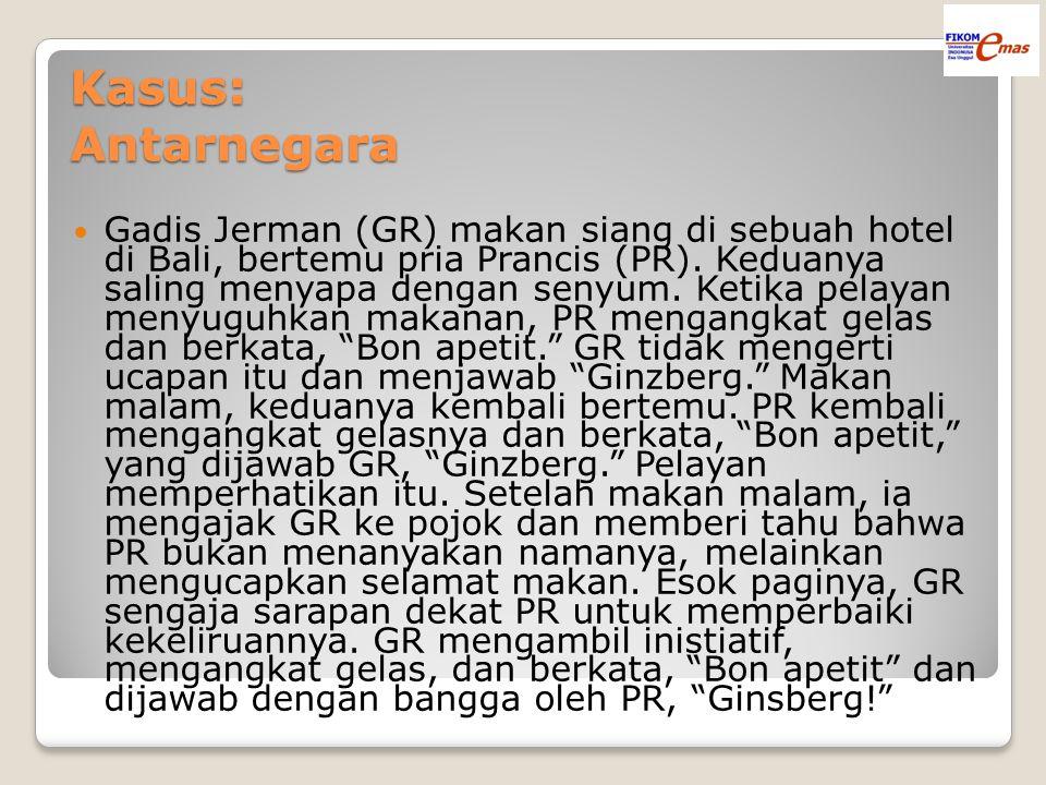Kasus: Antarnegara Gadis Jerman (GR) makan siang di sebuah hotel di Bali, bertemu pria Prancis (PR). Keduanya saling menyapa dengan senyum. Ketika pel