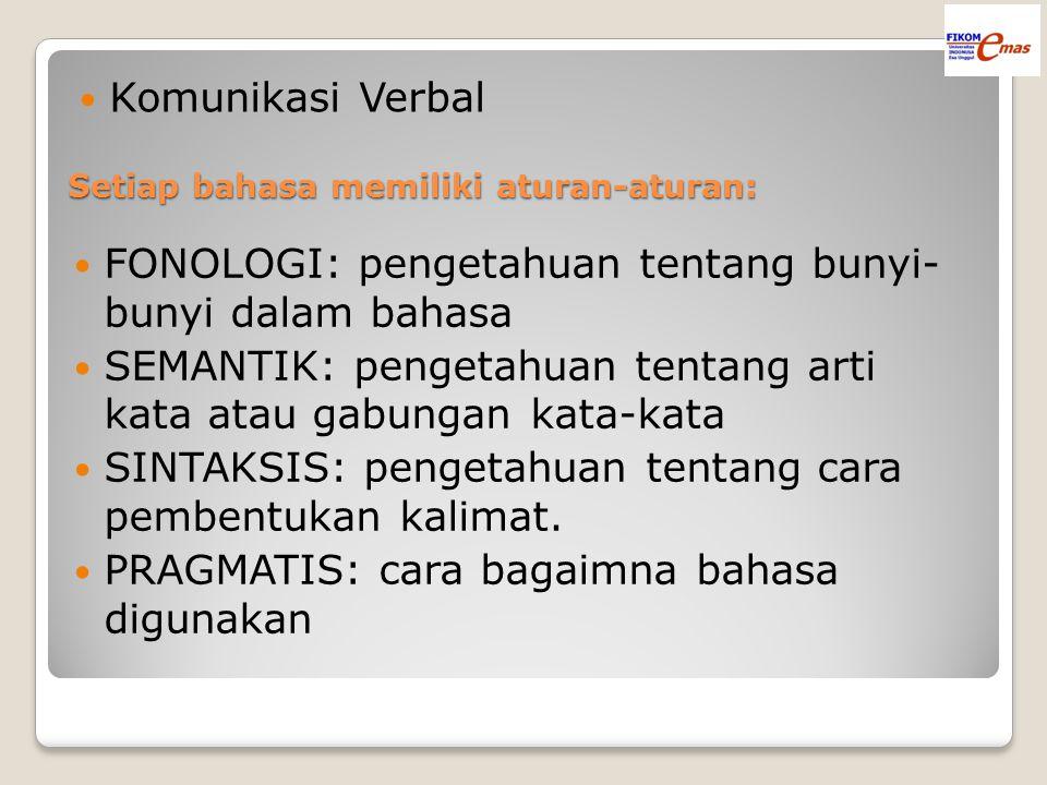 Setiap bahasa memiliki aturan-aturan: Komunikasi Verbal FONOLOGI: pengetahuan tentang bunyi- bunyi dalam bahasa SEMANTIK: pengetahuan tentang arti kata atau gabungan kata-kata SINTAKSIS: pengetahuan tentang cara pembentukan kalimat.