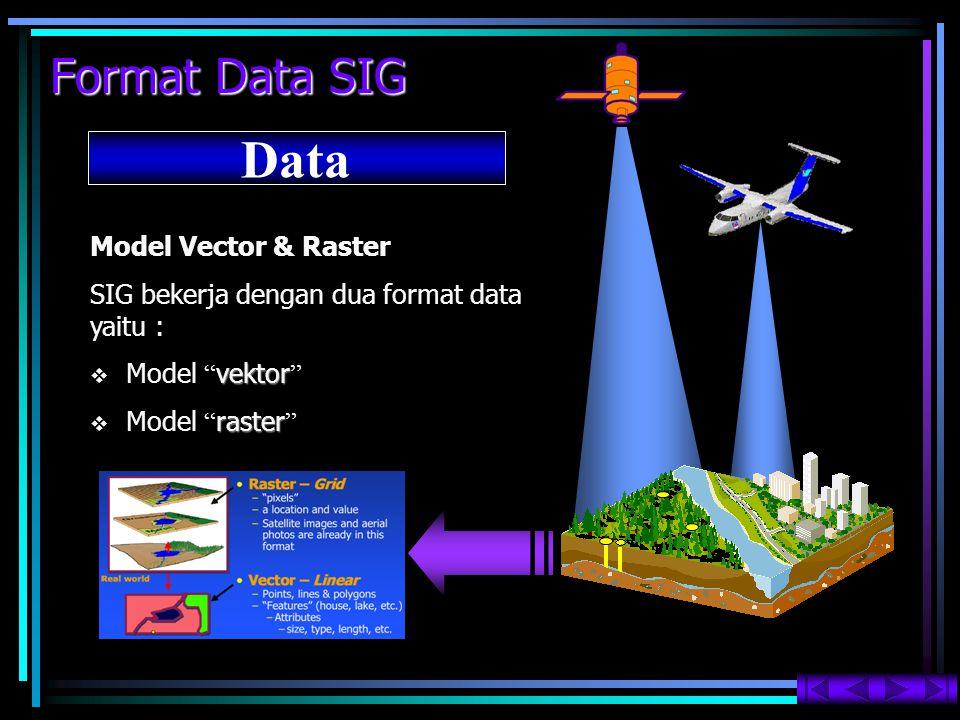 """Format Data SIG Data Model Vector & Raster SIG bekerja dengan dua format data yaitu :  vektor  Model """" vektor """"  raster  Model """" raster """""""