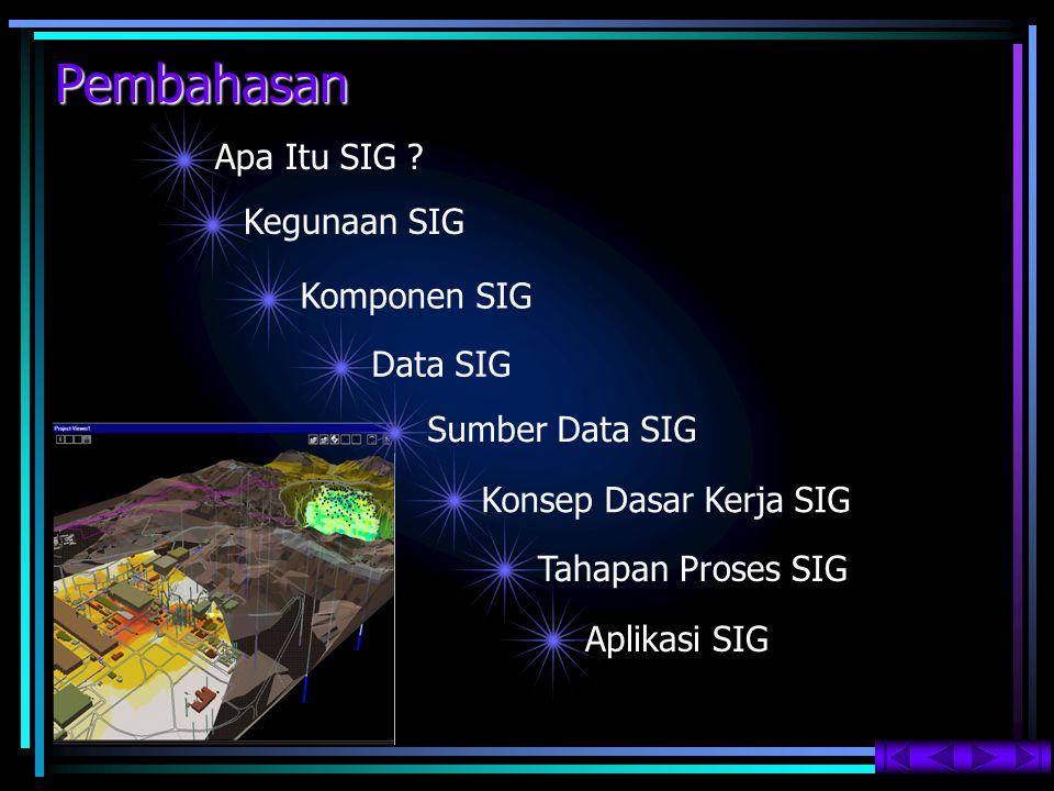 Secara umum proses SIG terdiri dari 5 tahapan :   Input data   Manipulasi data   Manajemen data   Query dan Analisis   Visualisasi Tahapan Proses SIG