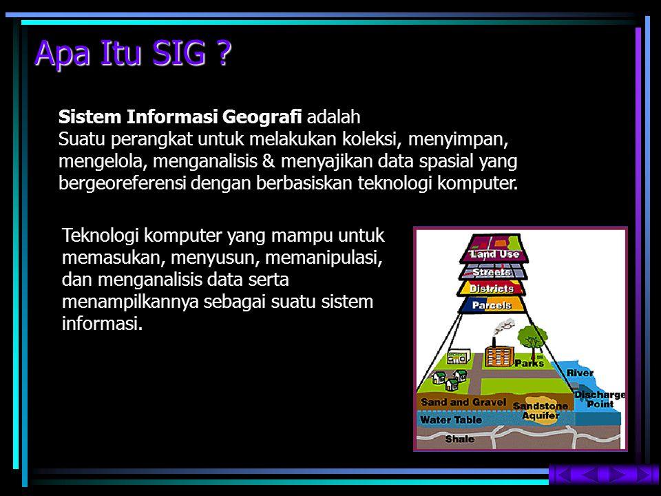 Apa Itu SIG ? Sistem Informasi Geografi adalah Suatu perangkat untuk melakukan koleksi, menyimpan, mengelola, menganalisis & menyajikan data spasial y