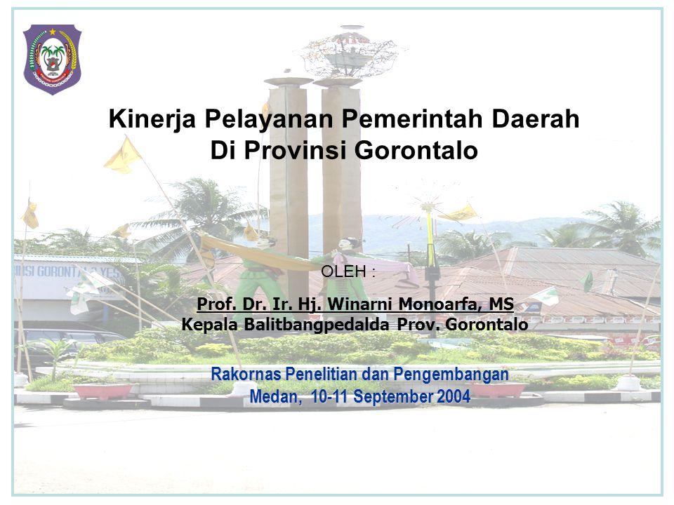 Kinerja Pelayanan Pemerintah Daerah Di Provinsi Gorontalo Prof.