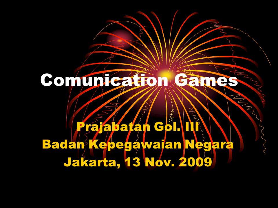 Comunication Games Prajabatan Gol. III Badan Kepegawaian Negara Jakarta, 13 Nov. 2009
