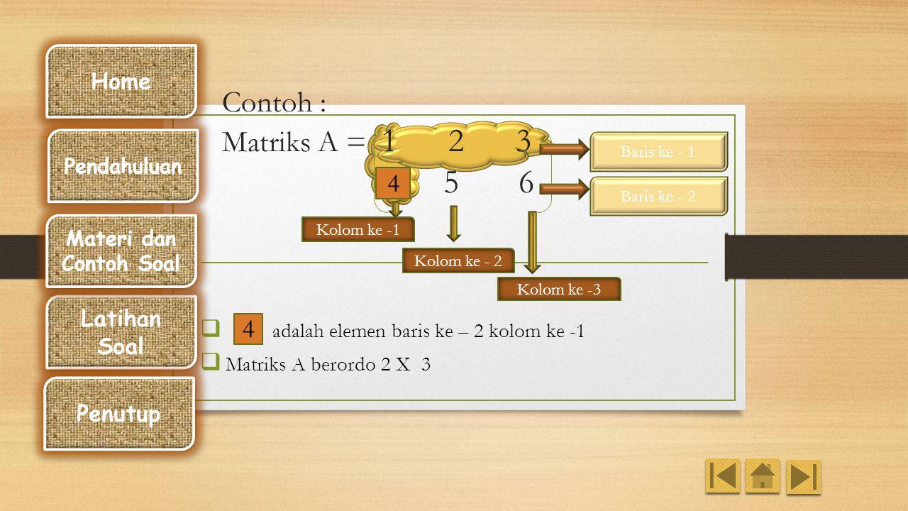 Bentuk Umum Elemen matriks : a ij Susunan bilangan atau nilai a ij {bilangan ral atau kompleks} Ukuran matriks : Jumlah baris : m Jumlah kolom : n Ord