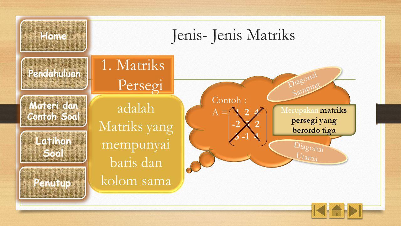 Contoh : Matriks A = 1 2 3 5 6  adalah elemen baris ke – 2 kolom ke -1  Matriks A berordo 2 X 3 Baris ke - 1 Baris ke - 2 Kolom ke -1 Kolom ke - 2 K
