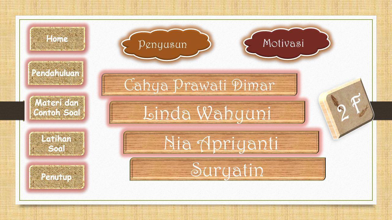 Cahya Prawati Dimar Linda Wahyuni Nia Apriyanti Suryatin Motivasi Penyusun Home Pendahuluan Materi dan Contoh Soal Latihan Soal Penutup