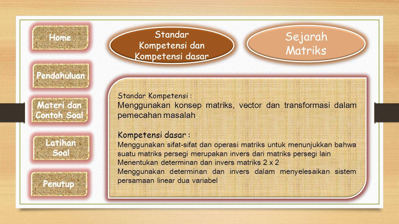 Standar Kompetensi dan Kompetensi dasar Sejarah Matriks Sejarah Matriks Standar Kompetensi : Menggunakan konsep matriks, vector dan transformasi dalam pemecahan masalah.