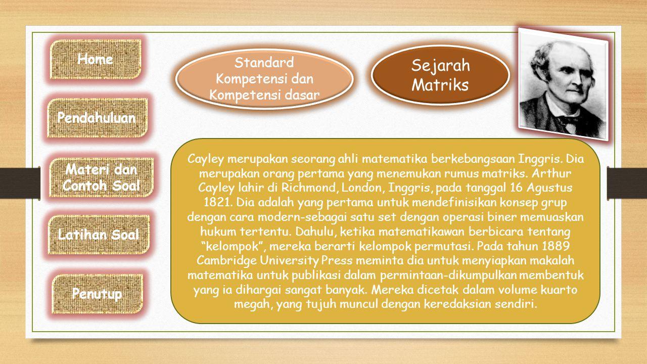 Standar Kompetensi dan Kompetensi dasar Sejarah Matriks Sejarah Matriks Standar Kompetensi : Menggunakan konsep matriks, vector dan transformasi dalam