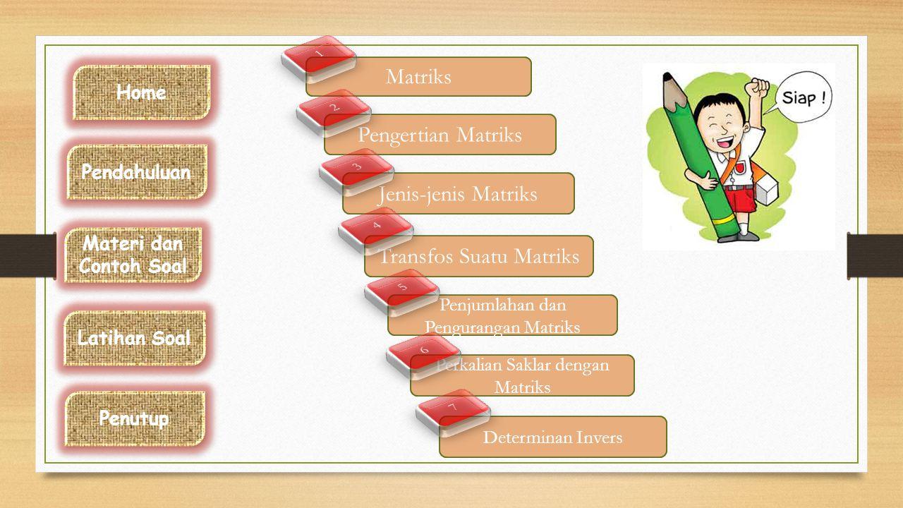 Standard Kompetensi dan Kompetensi dasar Sejarah Matriks Home Pendahuluan Latihan Soal Materi dan Contoh Soal Materi dan Contoh Soal Penutup Cayley me
