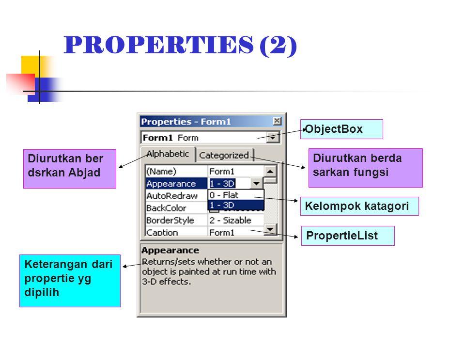 PROPERTIES (2) Diurutkan ber dsrkan Abjad Diurutkan berda sarkan fungsi ObjectBox PropertieList Kelompok katagori Keterangan dari propertie yg dipilih
