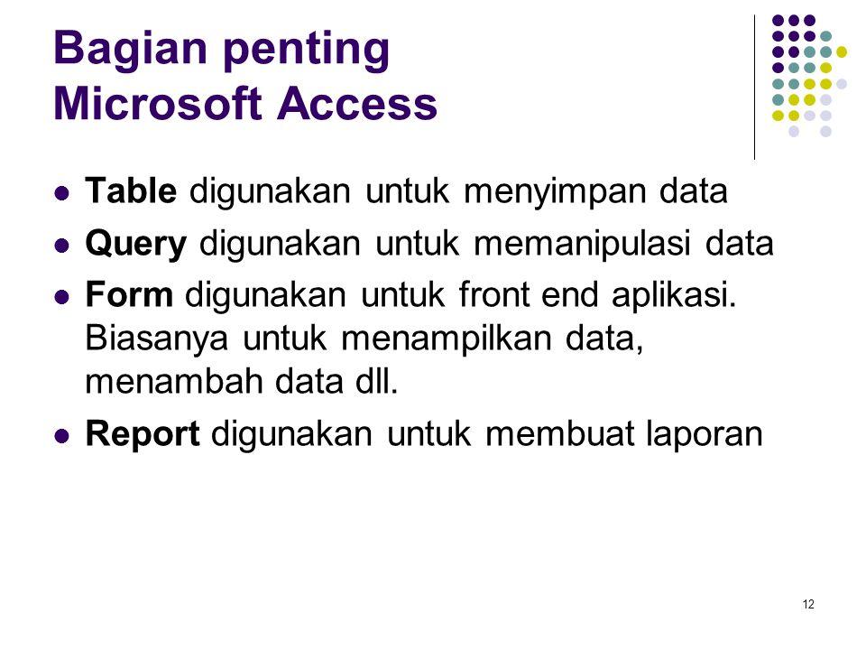 12 Bagian penting Microsoft Access Table digunakan untuk menyimpan data Query digunakan untuk memanipulasi data Form digunakan untuk front end aplikasi.