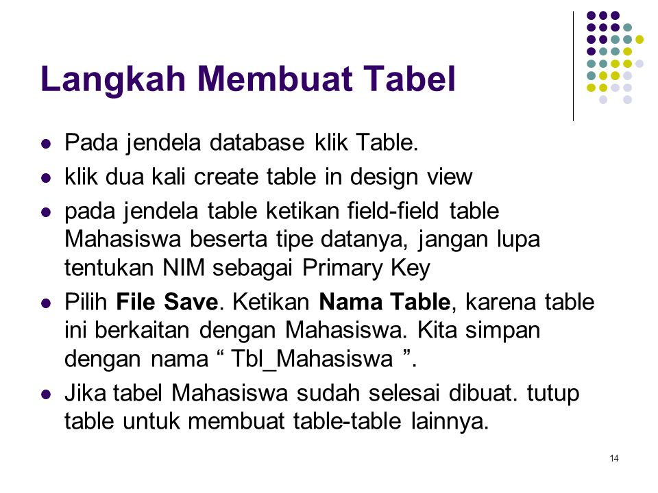 14 Langkah Membuat Tabel Pada jendela database klik Table. klik dua kali create table in design view pada jendela table ketikan field-field table Maha