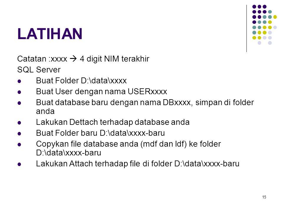 15 LATIHAN Catatan :xxxx  4 digit NIM terakhir SQL Server Buat Folder D:\data\xxxx Buat User dengan nama USERxxxx Buat database baru dengan nama DBxxxx, simpan di folder anda Lakukan Dettach terhadap database anda Buat Folder baru D:\data\xxxx-baru Copykan file database anda (mdf dan ldf) ke folder D:\data\xxxx-baru Lakukan Attach terhadap file di folder D:\data\xxxx-baru