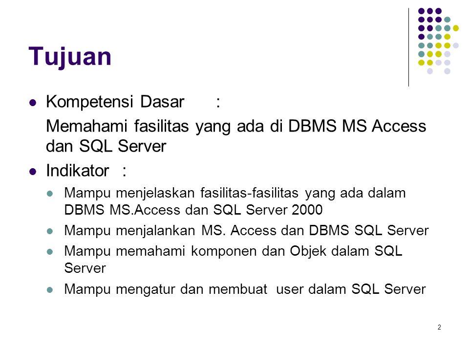 2 Tujuan Kompetensi Dasar: Memahami fasilitas yang ada di DBMS MS Access dan SQL Server Indikator : Mampu menjelaskan fasilitas-fasilitas yang ada dalam DBMS MS.Access dan SQL Server 2000 Mampu menjalankan MS.