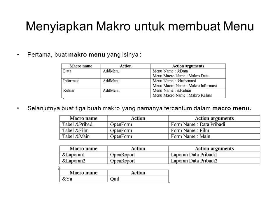 Menyiapkan Makro untuk membuat Menu Pertama, buat makro menu yang isinya : Selanjutnya buat tiga buah makro yang namanya tercantum dalam macro menu.