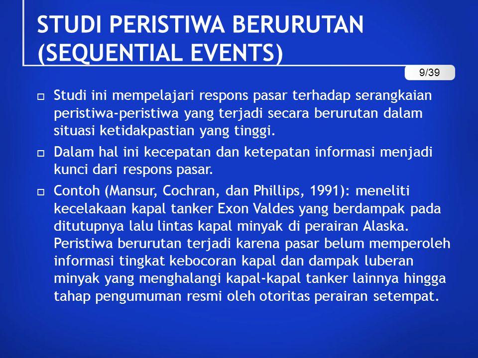 STUDI PERISTIWA BERURUTAN (SEQUENTIAL EVENTS)  Studi ini mempelajari respons pasar terhadap serangkaian peristiwa-peristiwa yang terjadi secara berur