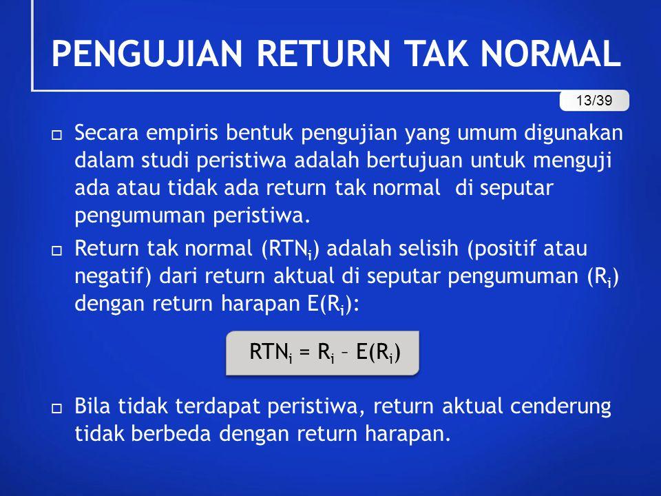  Secara empiris bentuk pengujian yang umum digunakan dalam studi peristiwa adalah bertujuan untuk menguji ada atau tidak ada return tak normal di sep