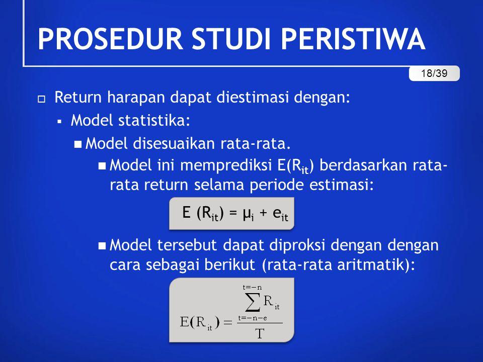  Return harapan dapat diestimasi dengan:  Model statistika: Model disesuaikan rata-rata. Model ini memprediksi E(R it ) berdasarkan rata- rata retur
