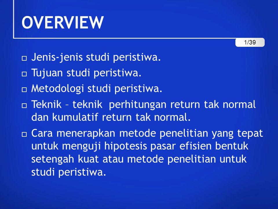OVERVIEW  Jenis-jenis studi peristiwa.  Tujuan studi peristiwa.  Metodologi studi peristiwa.  Teknik – teknik perhitungan return tak normal dan ku