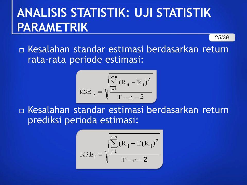  Kesalahan standar estimasi berdasarkan return rata-rata periode estimasi:  Kesalahan standar estimasi berdasarkan return prediksi perioda estimasi: