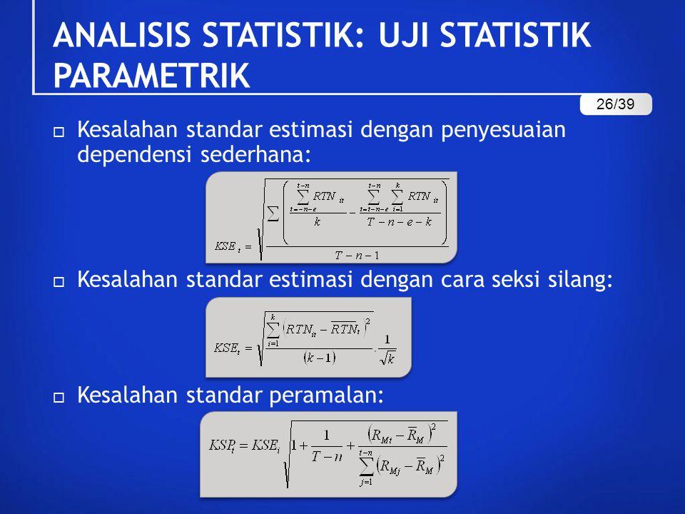  Kesalahan standar estimasi dengan penyesuaian dependensi sederhana:  Kesalahan standar estimasi dengan cara seksi silang:  Kesalahan standar peram