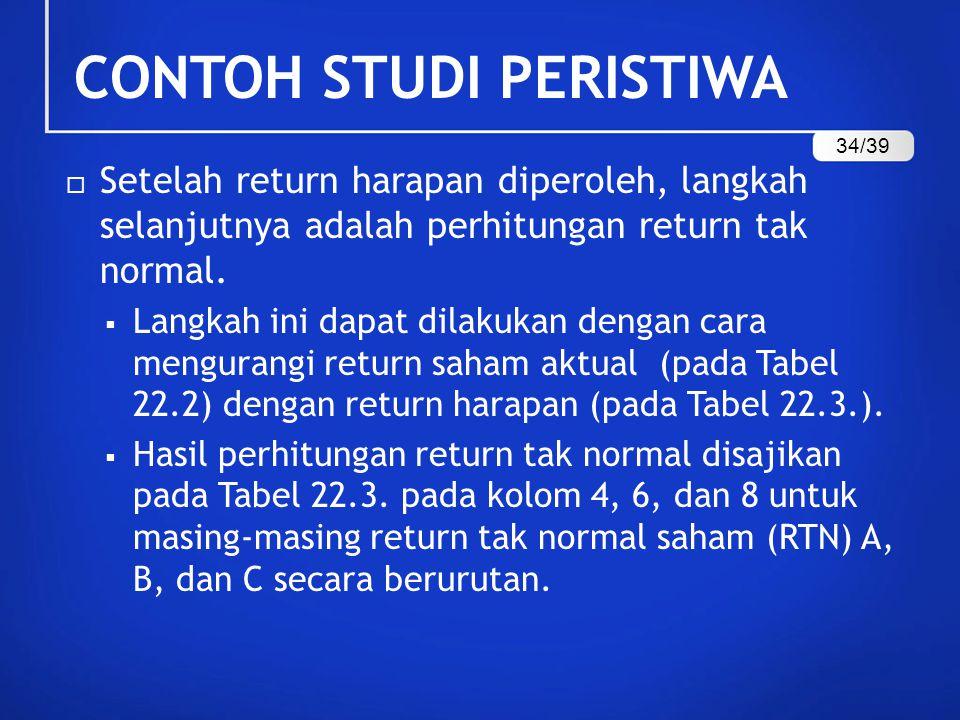  Setelah return harapan diperoleh, langkah selanjutnya adalah perhitungan return tak normal.  Langkah ini dapat dilakukan dengan cara mengurangi ret