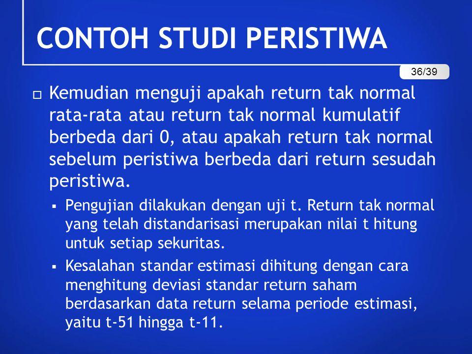  Kemudian menguji apakah return tak normal rata-rata atau return tak normal kumulatif berbeda dari 0, atau apakah return tak normal sebelum peristiwa
