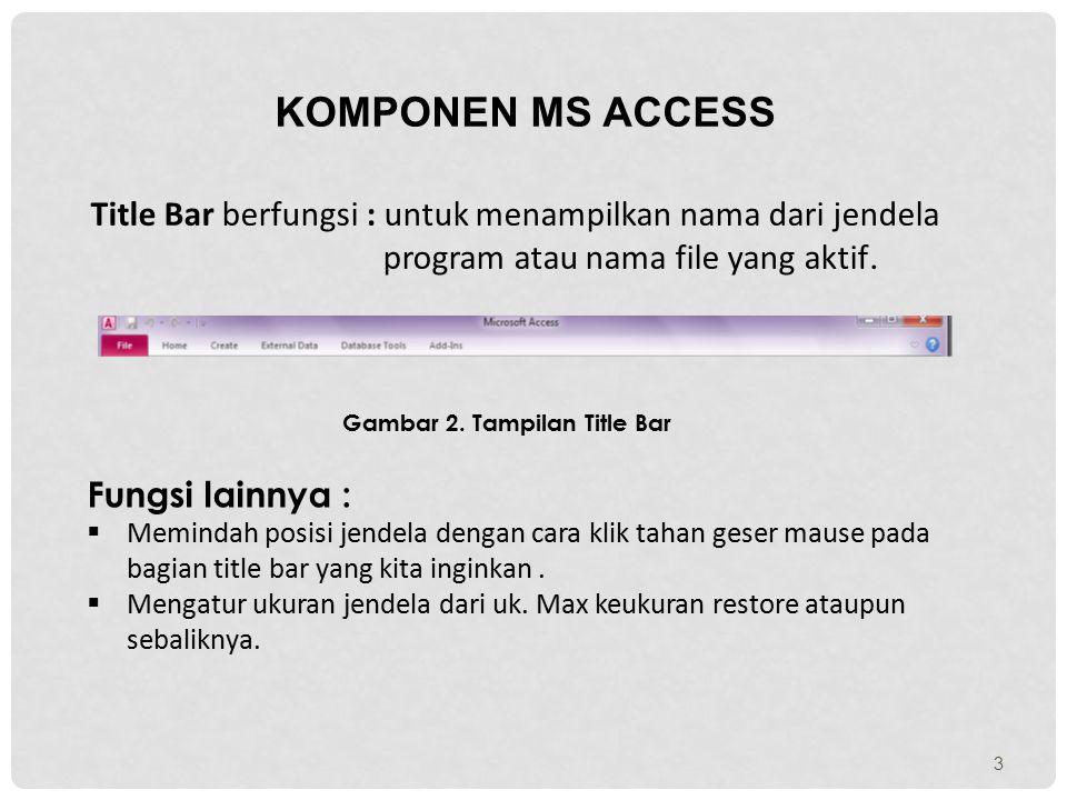 3 KOMPONEN MS ACCESS Title Bar berfungsi : untuk menampilkan nama dari jendela program atau nama file yang aktif. Gambar 2. Tampilan Title Bar Fungsi