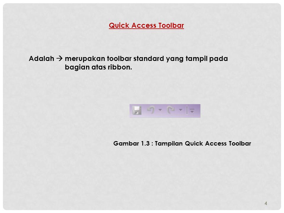 4 Quick Access Toolbar Adalah  merupakan toolbar standard yang tampil pada bagian atas ribbon. Gambar 1.3 : Tampilan Quick Access Toolbar