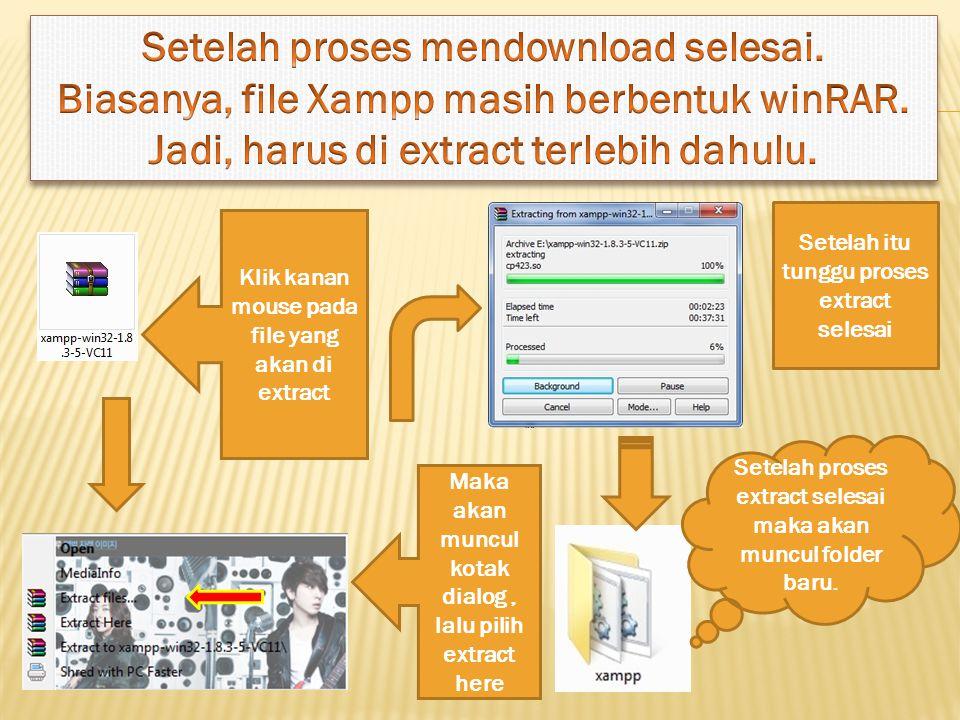 Klik kanan mouse pada file yang akan di extract Maka akan muncul kotak dialog, lalu pilih extract here Setelah itu tunggu proses extract selesai Setelah proses extract selesai maka akan muncul folder baru.