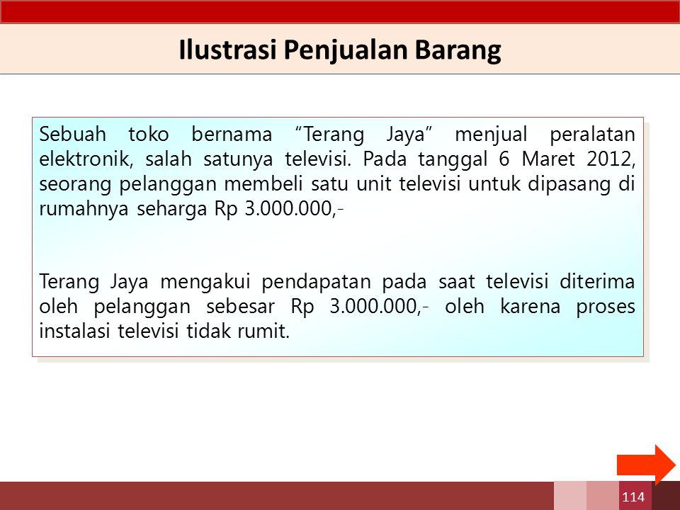 "Ilustrasi Penjualan Barang Sebuah toko bernama ""Terang Jaya"" menjual peralatan elektronik, salah satunya televisi. Pada tanggal 6 Maret 2012, seorang"