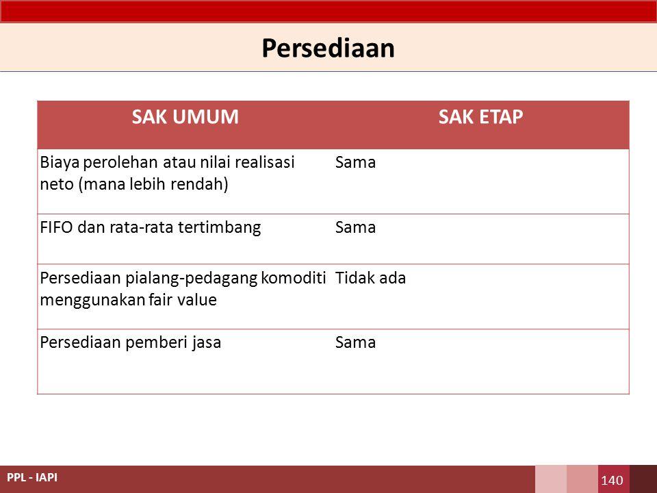 SAK UMUMSAK ETAP Biaya perolehan atau nilai realisasi neto (mana lebih rendah) Sama FIFO dan rata-rata tertimbangSama Persediaan pialang-pedagang komo