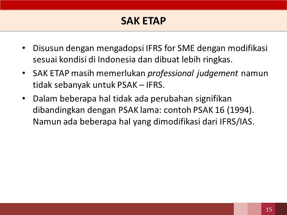 SAK ETAP Disusun dengan mengadopsi IFRS for SME dengan modifikasi sesuai kondisi di Indonesia dan dibuat lebih ringkas. SAK ETAP masih memerlukan prof