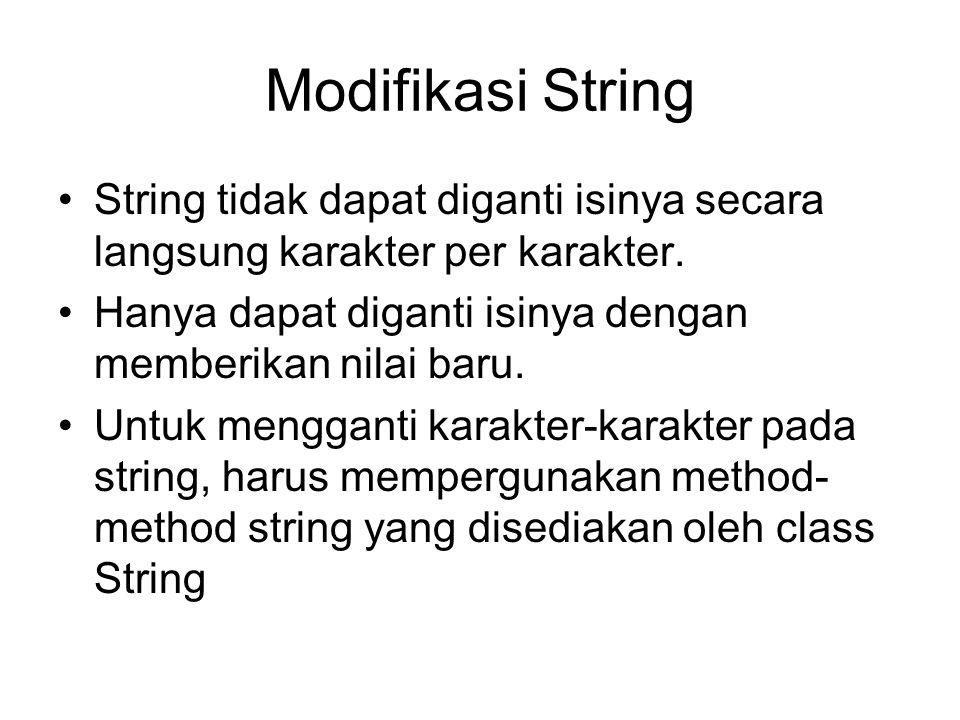 Modifikasi String String tidak dapat diganti isinya secara langsung karakter per karakter. Hanya dapat diganti isinya dengan memberikan nilai baru. Un