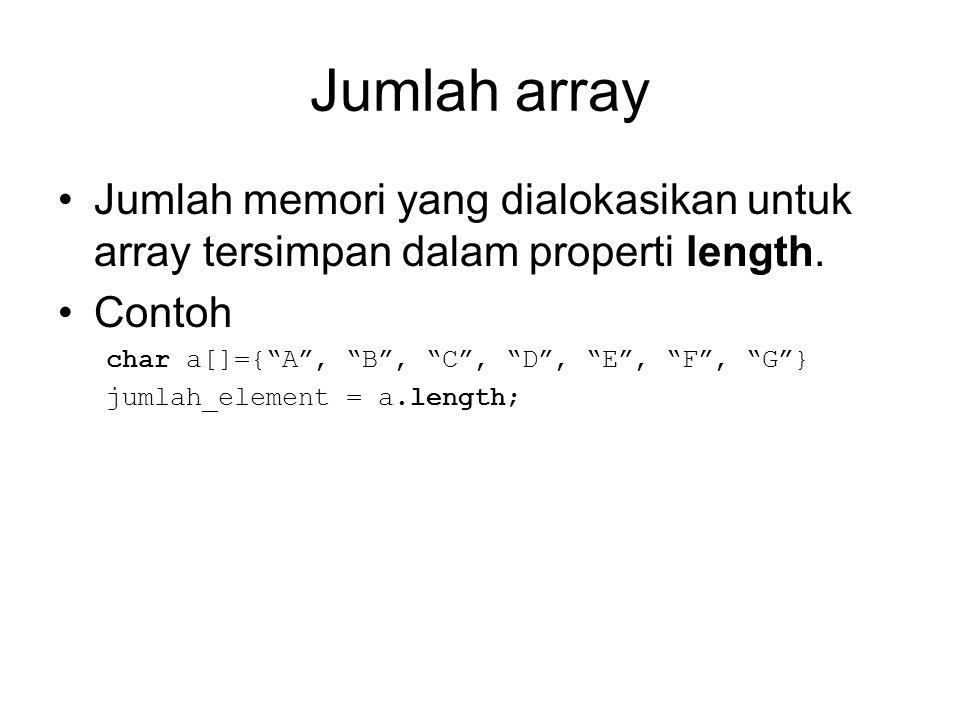 """Jumlah array Jumlah memori yang dialokasikan untuk array tersimpan dalam properti length. Contoh char a[]={""""A"""", """"B"""", """"C"""", """"D"""", """"E"""", """"F"""", """"G""""} jumlah_e"""