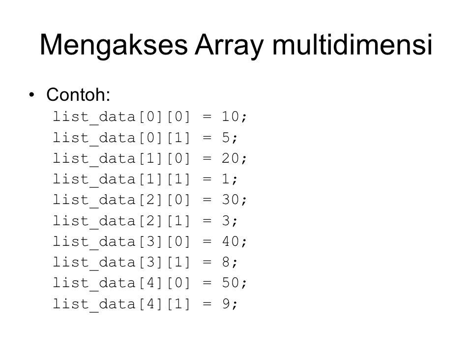 Mengakses Array multidimensi Contoh: list_data[0][0] = 10; list_data[0][1] = 5; list_data[1][0] = 20; list_data[1][1] = 1; list_data[2][0] = 30; list_