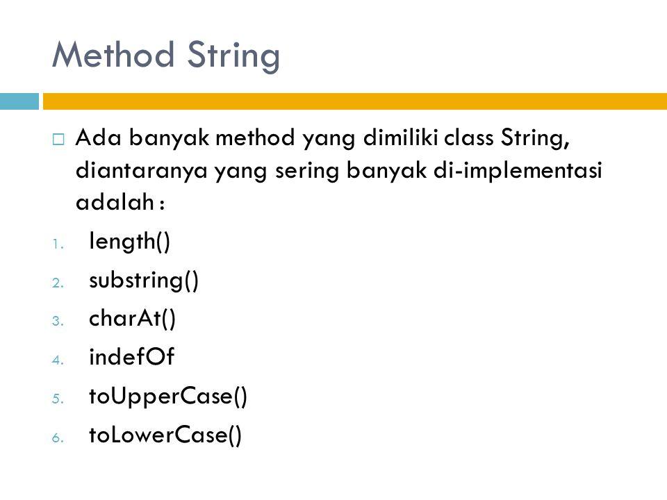 Method String  Ada banyak method yang dimiliki class String, diantaranya yang sering banyak di-implementasi adalah : 1.