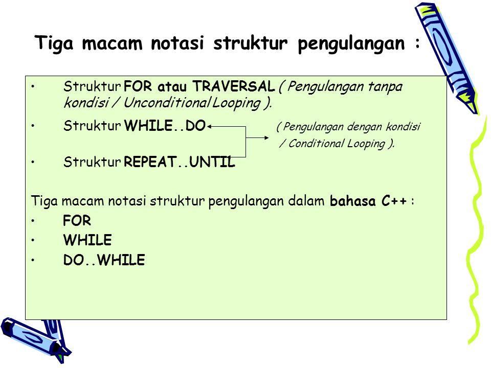 Tiga macam notasi struktur pengulangan : Struktur FOR atau TRAVERSAL ( Pengulangan tanpa kondisi / Unconditional Looping ). Struktur WHILE..DO ( Pengu
