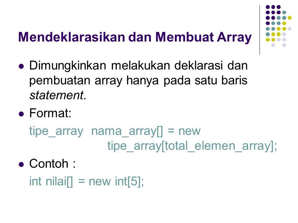 Mendeklarasikan dan Membuat Array Dimungkinkan melakukan deklarasi dan pembuatan array hanya pada satu baris statement. Format: tipe_array nama_array[