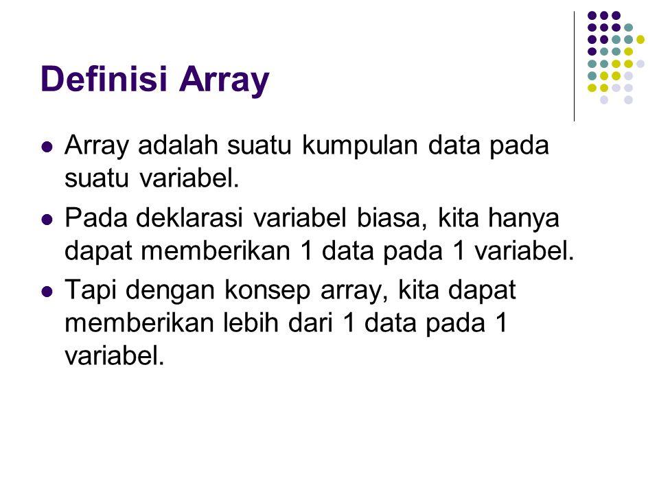 Deklarasi Array Cara mendeklarasikan array: tipe_array nama_array[]; tipe_array[] nama_array; Contoh : int nilai[]; char[] huruf;