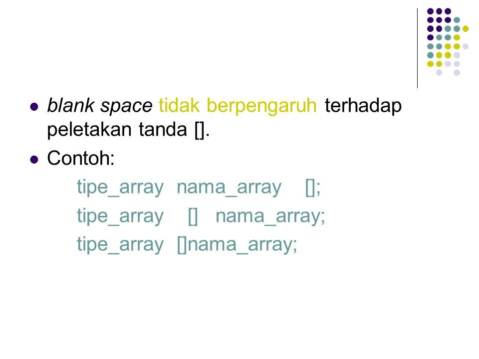 Mendeklarasikan, Membuat, dan Menginisialiasi Array Format tipe_array nama_array[] = {nilai_indeks_0, nilai_indeks_1, …, nilai_indeks_n}; Contoh : int nilai[] = {70, 65, 85};