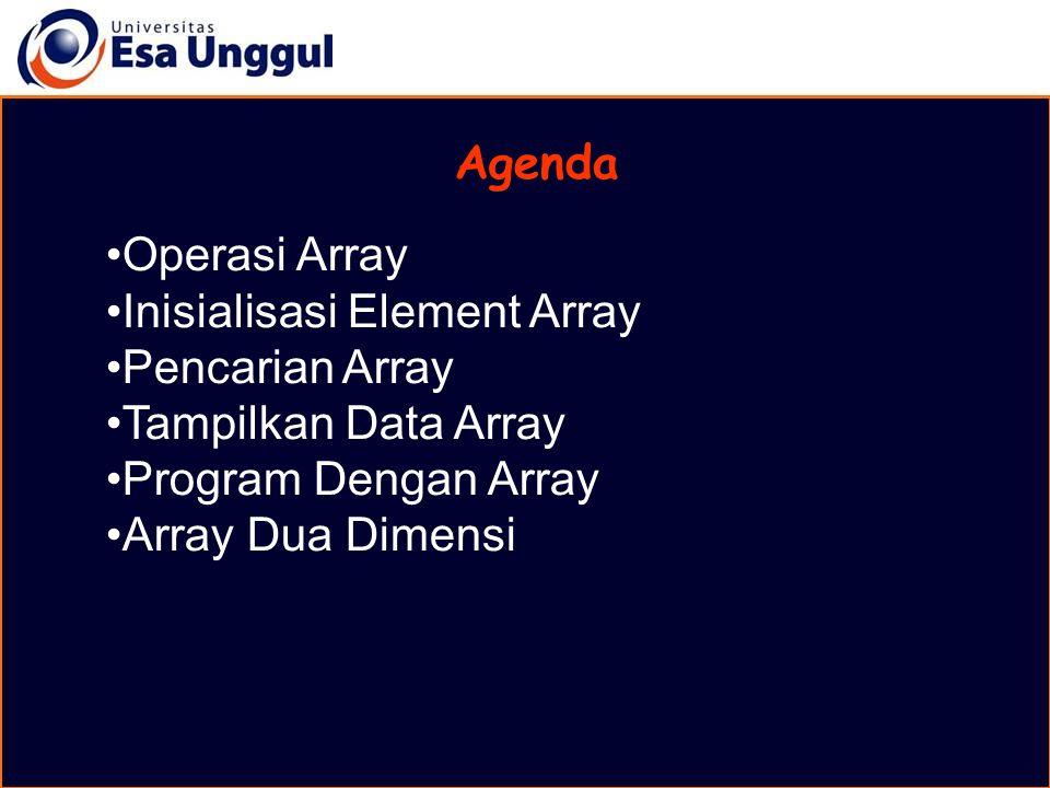 Agenda Operasi Array Inisialisasi Element Array Pencarian Array Tampilkan Data Array Program Dengan Array Array Dua Dimensi
