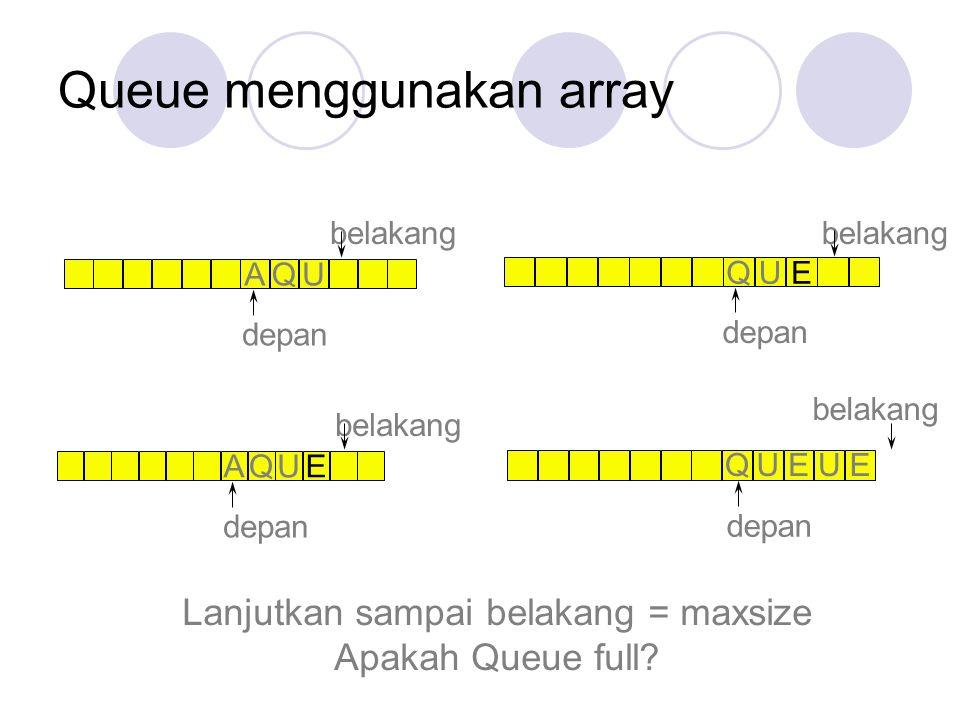 Queue menggunakan array AQU depan belakang AQUE depan belakang QUE depan belakang Lanjutkan sampai belakang = maxsize Apakah Queue full? depan belakan