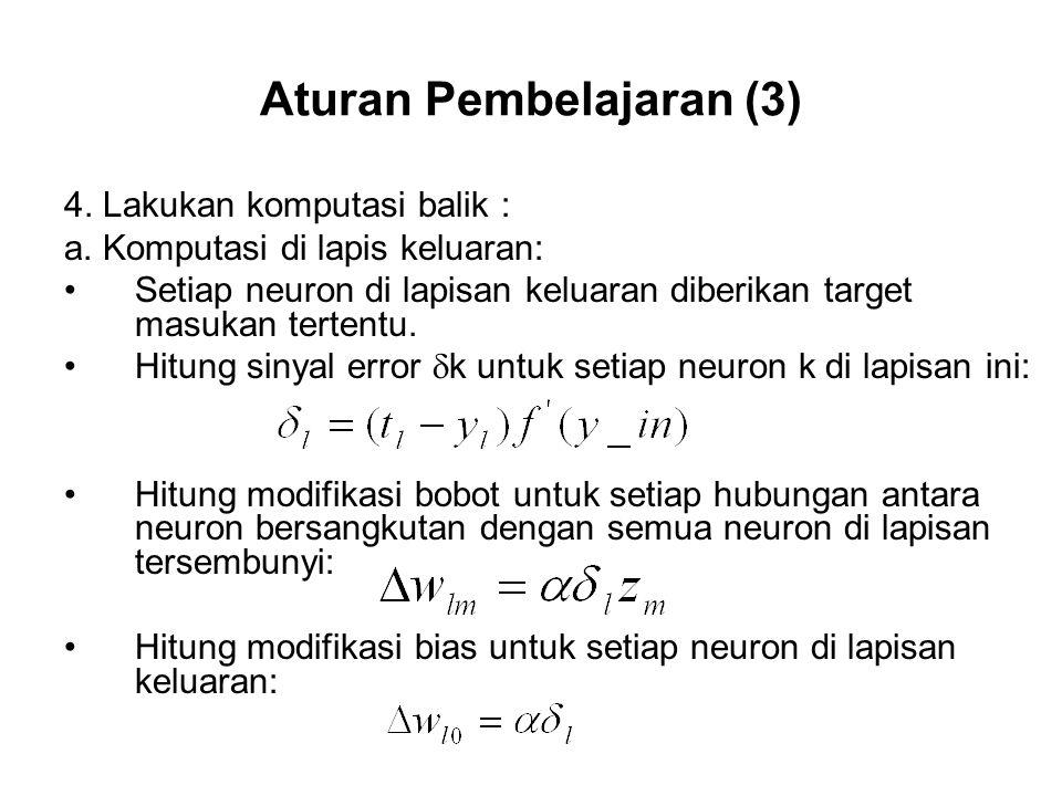 Aturan Pembelajaran (3) 4.Lakukan komputasi balik : a.