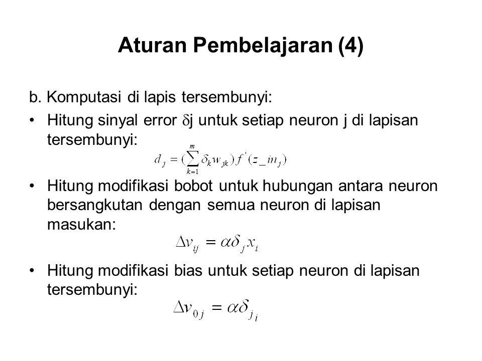 Aturan Pembelajaran (4) b.