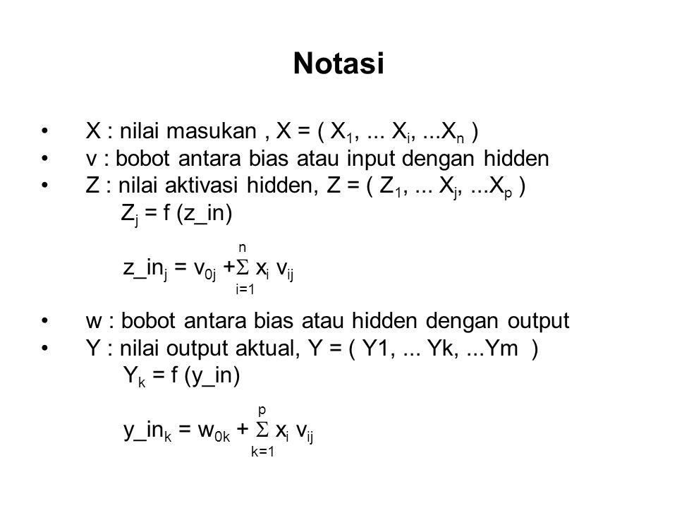 Notasi X : nilai masukan, X = ( X 1,...
