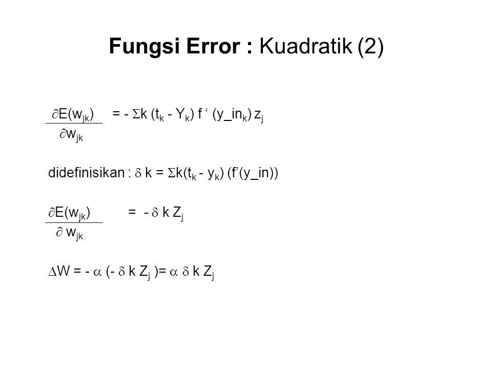 Fungsi Error : Kuadratik (2)  E(w jk ) = -  k (t k - Y k ) f ' (y_in k ) z j  w jk didefinisikan :  k =  k(t k - y k ) (f'(y_in))  E(w jk ) = -  k Z j  w jk  W = -  (-  k Z j )=   k Z j