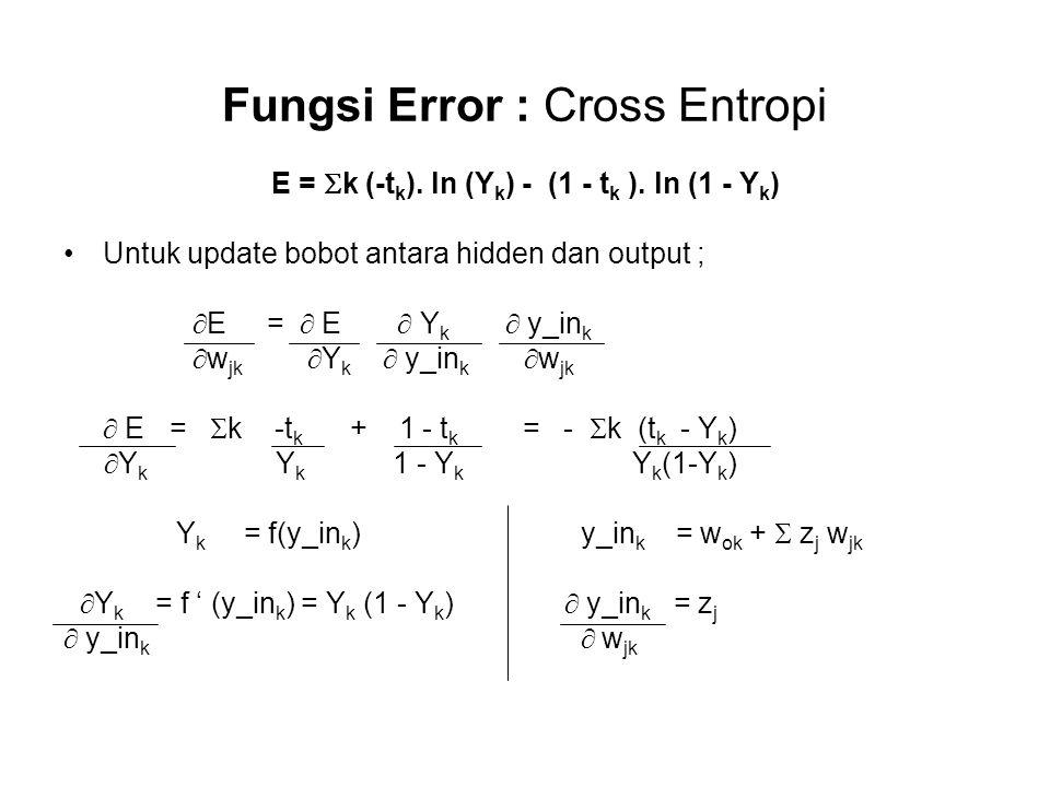Fungsi Error : Cross Entropi E =  k (-t k ).ln (Y k ) - (1 - t k ).